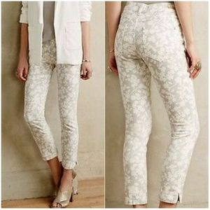 ANTHROPOLOGIE PILCRO | Cropped Stripe Floral Jeans